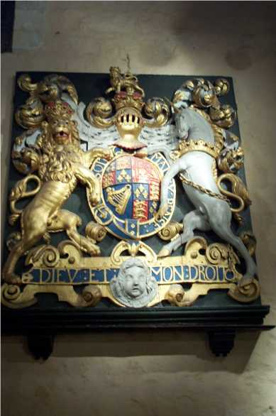"Coat of arms, reads ""Mon Dieu et Mon Droit."" (My God is my strength.)"